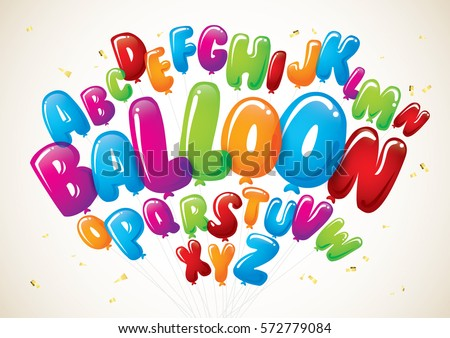 Vector of colorful balloon font and alphabet