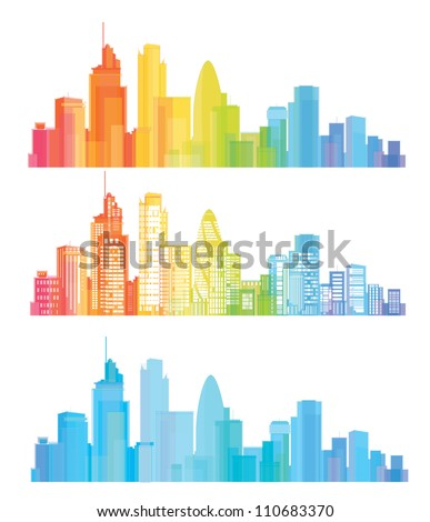 Vector of colorful London skyline - stock vector