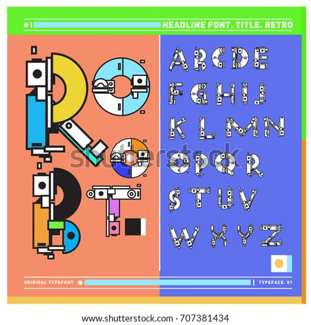 Vector of colorful Retro alphabet. Unique fonts for design and illustration template with techno and robot style. Typography for poster and headline publication.