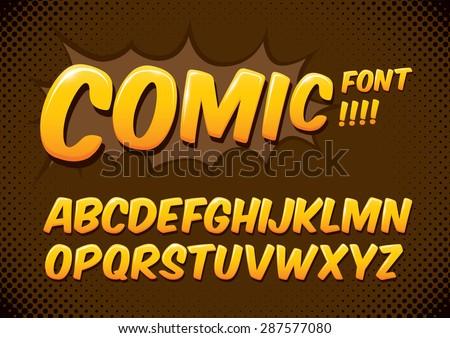 Vector of comic alphabets - stock vector