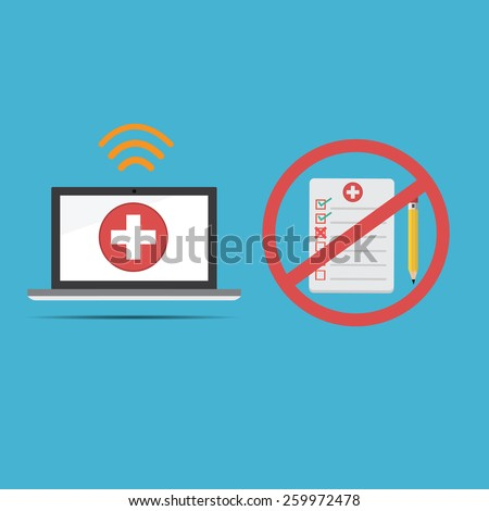 Vector of computer medical record .new technology for health care records and do not use old paper report - stock vector