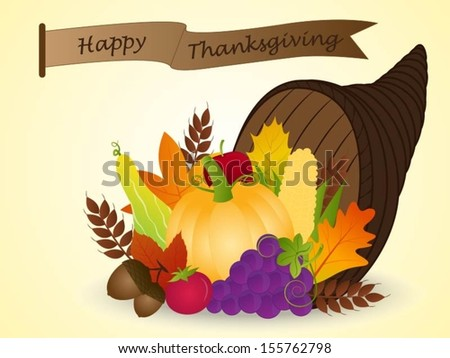 Vector of Cornucopia with Harvest Fruits: Thanksgiving - stock vector
