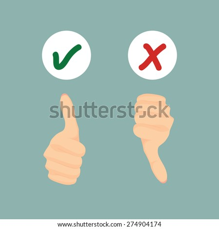 Vector of Correct and wrong, Yes or No. Thumb up and down hand for your design.  - stock vector