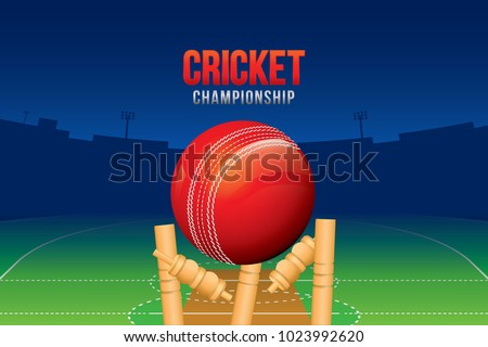 Vector of cricket championship poster or banner design with wood cricket bats and ball.