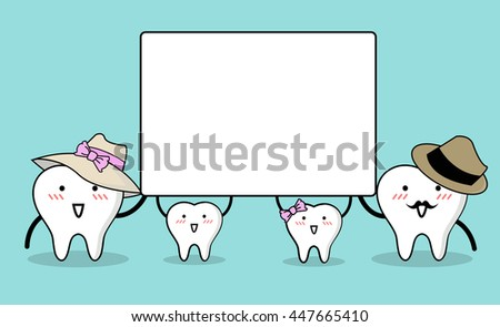 Vector of Cute cartoon family tooth holding blank white board with space for text. - stock vector
