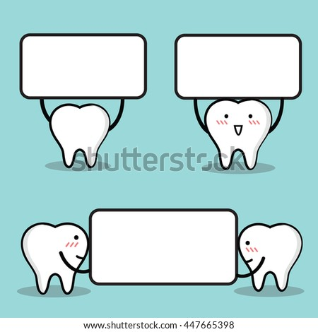 Vector of Cute cartoon tooth holding blank white board with space for text. - stock vector