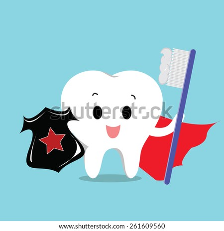 Vector of Cute healthy tooth with shield and toothbrush for Health care, dental, protection   - stock vector