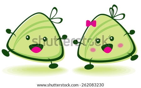 Chinese Dumpling Drawing Vector of Cute Rice Dumpling