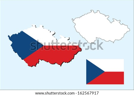 vector of czech republic map with flag inside