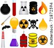Vector of Dangerous Poison, Explosive, Chemical, Pollution (Environmental Damage). A set of cute and colorful icon collection isolated on white background - stock photo