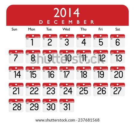 Vector of December 2014 Calendar - stock vector