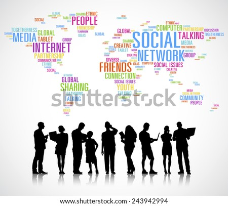 Vector of Diverse People's Silhouettes Using Digital Devices - stock vector