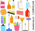 Vector of  Domestic housework Tools for Washing, Household Cleaning Equipments, baking soda, vinegar, sponge, brush, chemical. A set of cute and colorful icon collection isolated on white background - stock vector
