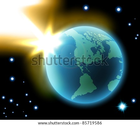 Vector of earth in space, eps10 - stock vector