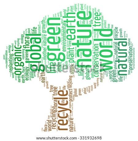 Vector  of ecology concept in modern word cloud. - stock vector
