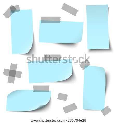 vector of empty papers collection with office accessories - stock vector