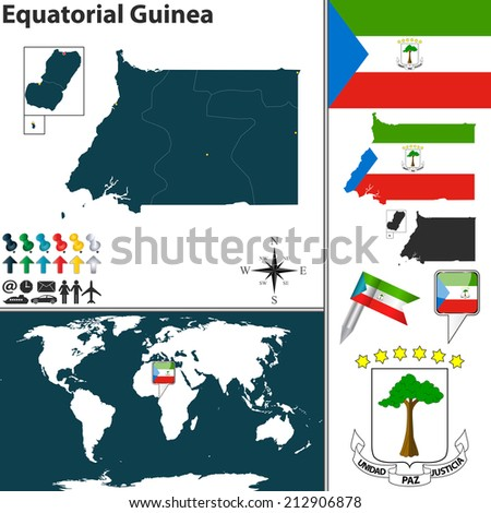 Vector of Equatorial Guinea set with detailed country shape with region borders, flags and icons