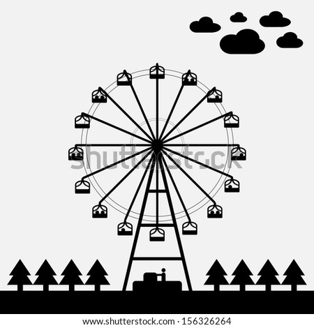 Vector of ferris wheel black and white color - stock vector