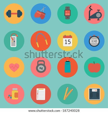 Vector of Fitness icon set flat design - stock vector
