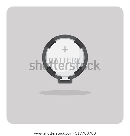 Vector of flat icon, button cell battery for motherboard on isolated background - stock vector