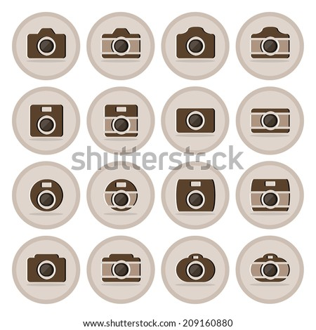 Vector of flat icon, camera set on isolated background - stock vector