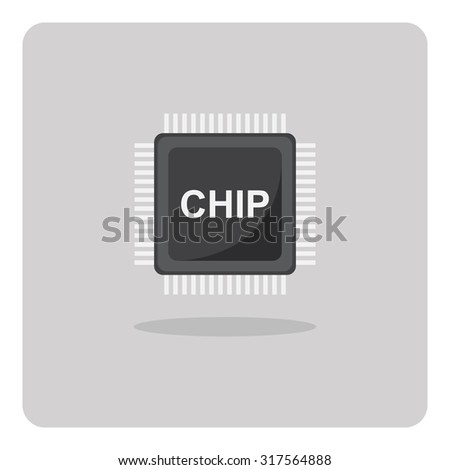 Vector of flat icon, chip for printed circuit board on isolated background - stock vector