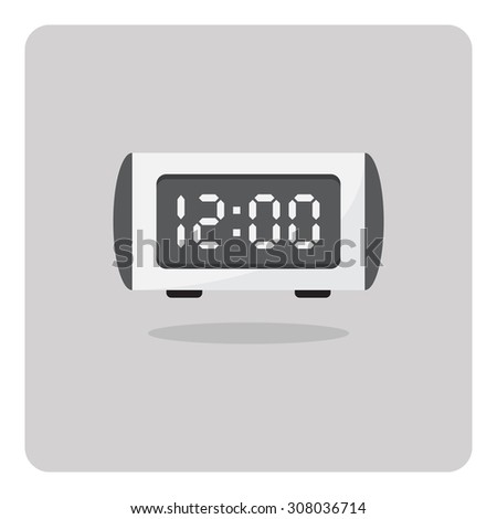 Vector of flat icon, digital alarm clock on isolated background - stock vector