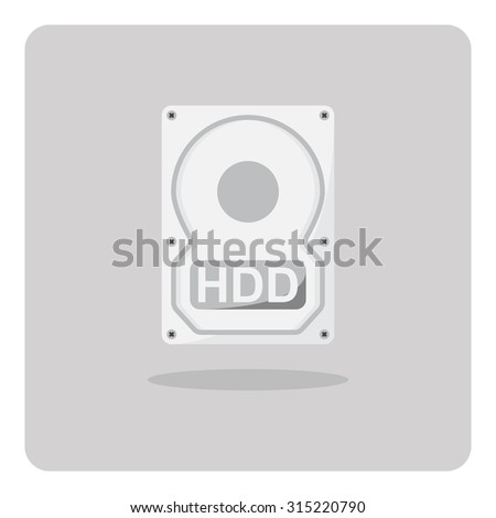 Vector of flat icon, hard disk drive on isolated background