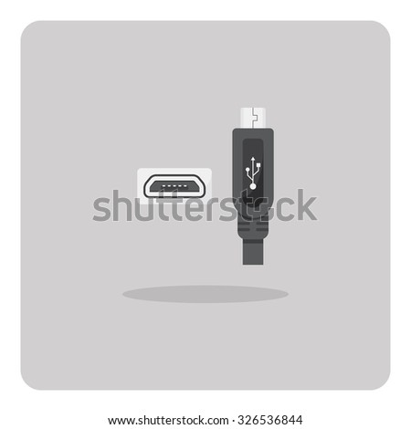 Vector of flat icon, Micro USB connector on isolated background - stock vector