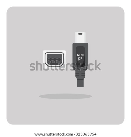 Vector of flat icon, mini display port connector on isolated background - stock vector