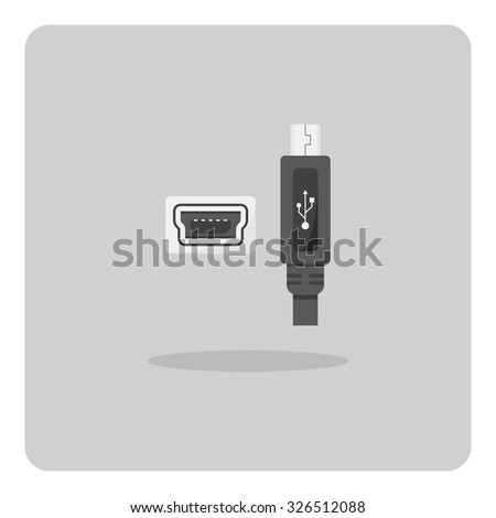 Vector of flat icon, Mini USB connector on isolated background - stock vector