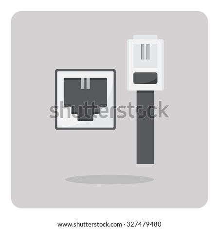 Vector of flat icon, telephone cable connector on isolated background - stock vector
