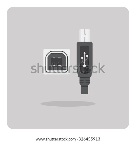 Vector of flat icon, USB Type-B connector on isolated background