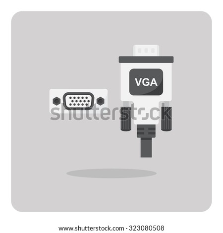 Vector of flat icon, vga connector on isolated background - stock vector