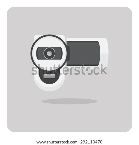 Vector of flat icon, video camera on isolated background - stock vector