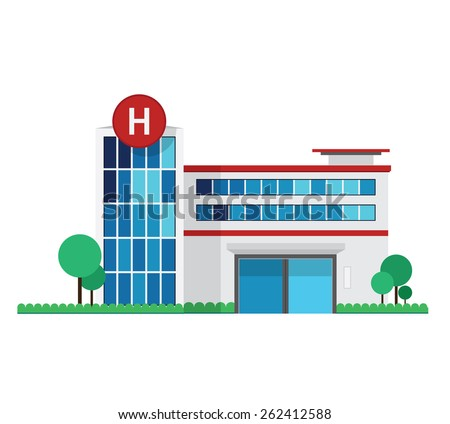 Vector of flat illustration Hospital building design on white background - stock vector