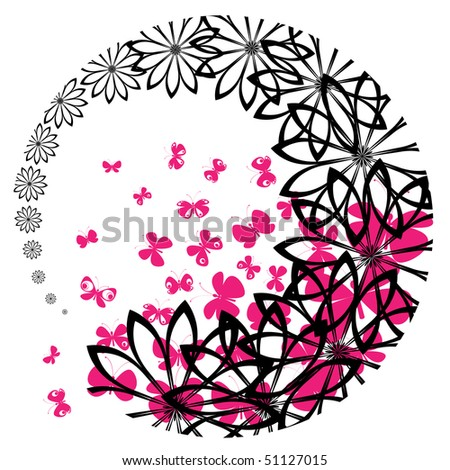 vector of flowers and butterflies inverted