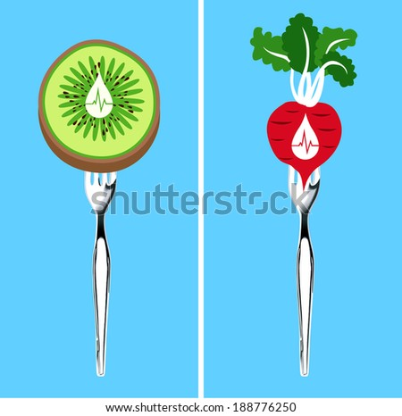 Vector of food that lower blood pressure, Illustrator, Clean Eating Concept. - stock vector