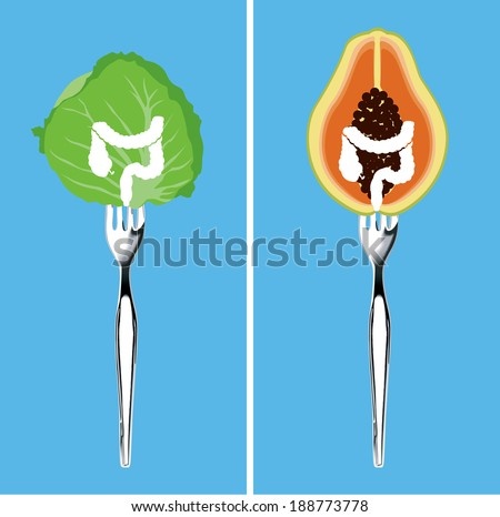 Vector of foods for cleansing your colon, Illustrator, Clean Eating Concept. - stock vector