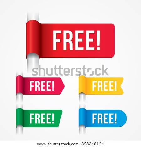 Vector of free tag, free sign, free label.