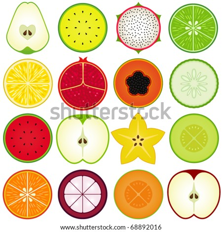 Vector of fresh fruit, vegetable cut in half, cross section. A set of cute and colorful icon collection isolated on white background - pear, watermelon, dragon fruit, lime, lemon, pomegranate, papaya