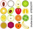 Vector of fresh fruit, vegetable cut in half, cross section. Set of cute and colorful icon collection isolated on white background - lychee coconut pear kiwi pineapple avocado strawberry pomelo durian - stock vector