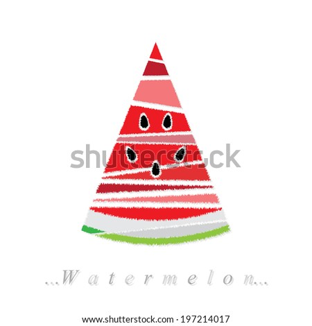 Vector of fruit, watermelon icon on isolated white background