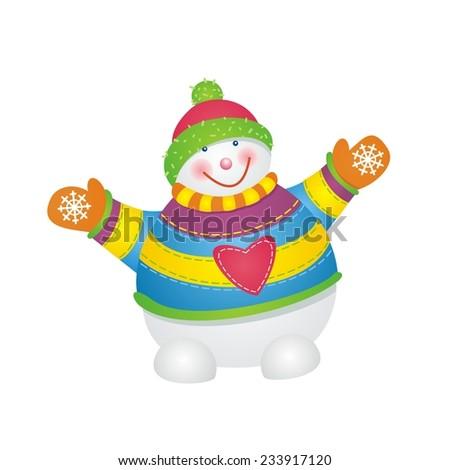 Vector of fun snowman isolated.  - stock vector