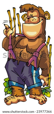 Vector of funny monkey in animation style. - stock vector
