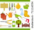 Vector of Gardening tools and garden equipments with green grass. A set of cute and colorful icon collection isolated on white background - stock