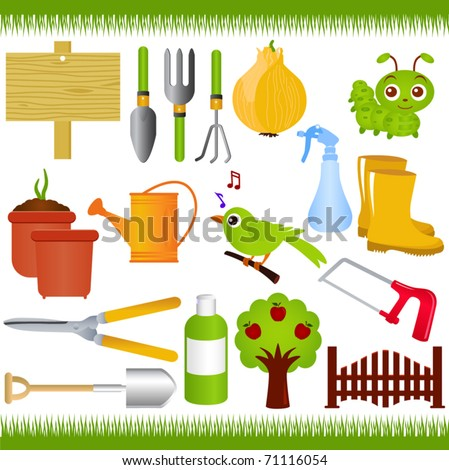 Vector Of Gardening Tools And Garden Equipments With Green Grass. A Set Of  Cute And