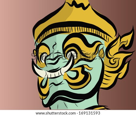 Vector of giant face in Thai Style