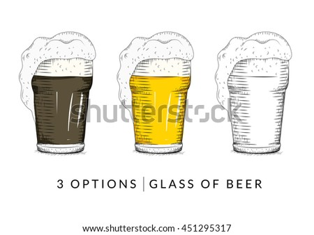 Vector of Glass of Beer, Vintage Hand Drawn style