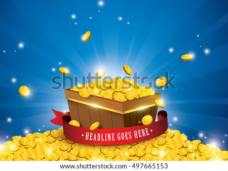 Vector of gold coins splashing,  treasure element and background
